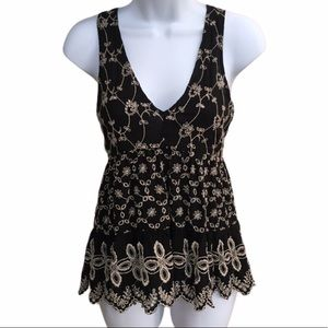 AEO Embroidered Eyelet Floral Sleeveless Blouse